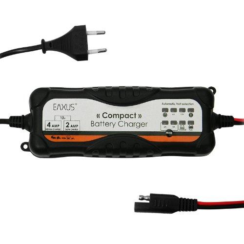 Eaxus®️ Vollautomatisches Autobatterie ⚡Ladegerät für 6V + 12V Batterien. Geeignet für Blei- und Gel-Batterien (Wet, MF, AGM und Gel), auch für Boote und Motorräder
