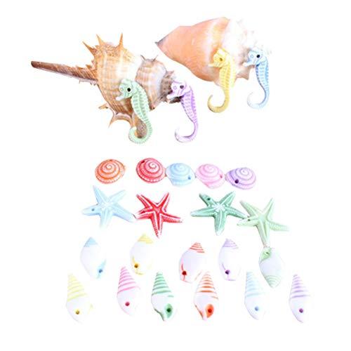 Toyvian 50 Stücke Muschelmix Dekomuscheln Echte Seepferdchen Conch Deko Muscheln zum Dekorieren Basteln Seestern Natürliche für Landschaft Aquarium Hochzeit DIY Handwerk Maritime Dekoration (Zufällig)