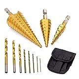 GOXAWEE Paso Brocas Escalonadas & HSS M35 Cobalto Brocas Helicoidales & Titanio Brocas de Espiral / 11 Piezas 21 Tamaños (1mm-32mm) Cortador de Agujeros para Madera y Metal