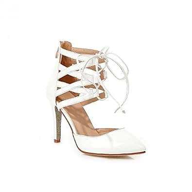 MEI&S Damen Sandalen Stiletto Heels Schuhe, Weiß, 39