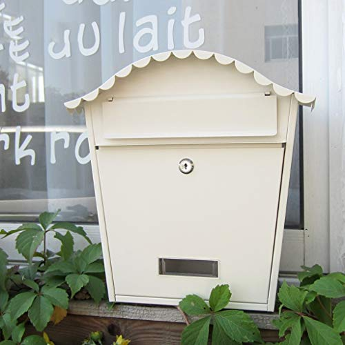 LBYMYB Mailbox Outdoor Mailbox Europäische Wandbehang Schmiedeeisen Kreative Outdoor Wasserdicht Mit Schloss Zeitungskasten Einfache Wandbehang Villa Briefkasten (Color : White)