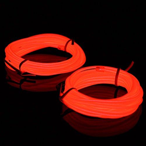 Lychee Tragbares Neonlicht EL-Draht-Gurtband mit Batterie-Pack für Party, Kostüm, Halloween, brennende Festival-Dekoration. 5m&2pack Orange (Zwei-halloween-kostüme Was Ein-und)