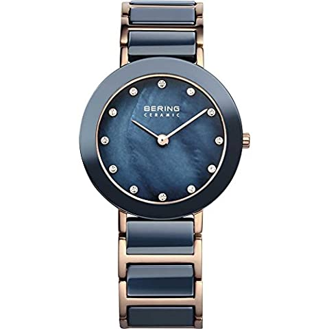 Bering Time Damen-Armbanduhr Analog Quarz Edelstahl beschichtet