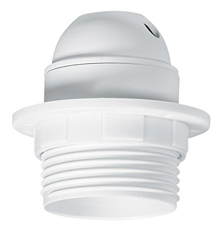 Legrand LEG91135 Douille plastique avec bague/sortie du câble sur le côté pour Ampoule à vis E27 Blanc
