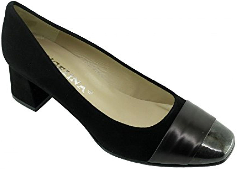 Angelina® Isabelle Escarpins Bout Vernis Femme Talon Carré Marque Chaussures Femme Vernis Petites Pointures Tailles Cuir NoirB076DPCC3TParent 563b9e