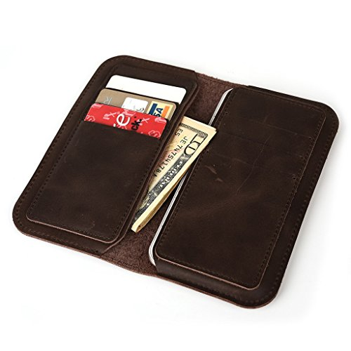Étui portefeuille en cuir véritable pour Blu Dash Dash Musique Jr/C musique pour peau marron