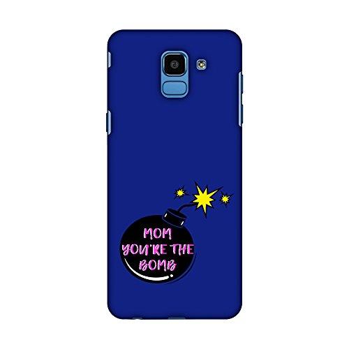 Hartschalen-Schutzhülle für Samsung Galaxy J6 (2018), Design Mother You Are The Bomb (englischsprachig), schlankes Design, handgefertigt, aufsteckbar, Farbe Midnight Blue