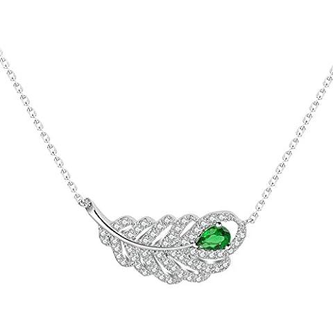AienidD Cristales Regalos de Navidad-Collar Mujer Joven Garras CZ Hueco Hoja de Pluma 29.5 x13.5mm Collares Dijes para las Mujeres