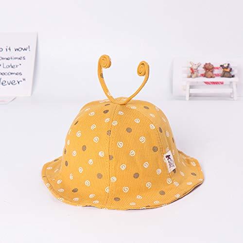 mlpnko Neue Kinderschnecken, Mützen, Mädchen, süße, große Mütze, Baby, Sonnencreme, Sonnenhut, gelb 50-52cm