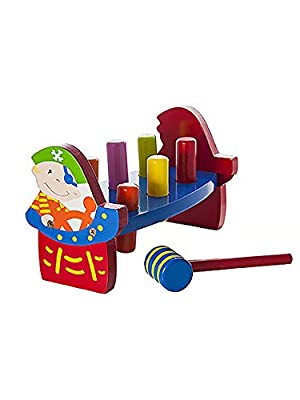 Children's Pirate Wooden Pound A Peg Hammer and Peg Pounding Bench Toy for Boys or Girls