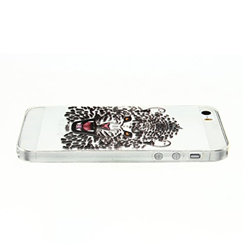 Cover iPhone 5 Custodia iPhone 5s Silicone Anfire Morbido Flessibile TPU Gel Case Cover per Apple iPhone 5/5s/SE (4.0 Pollici) Ultra Sottile Clear Trasparente 3D Copertura Antiurto Bumper Protettivo S Leopardo