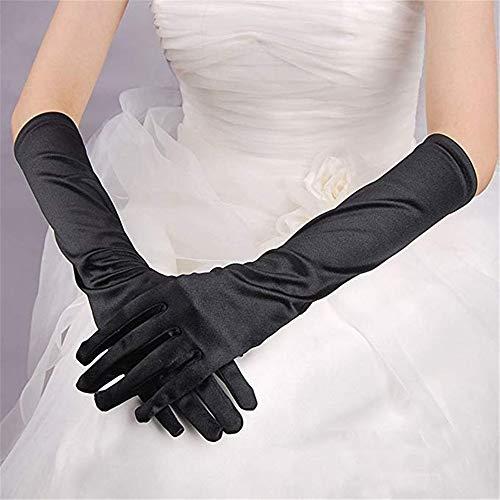 Zhongsufei-WA Brautparty-Handschuhe Frauen Shiny Stretch Satin Lange/Ellenbogen/Handgelenk Brauthandschuhe für Party Prom Hochzeit Für Hochzeitskleidhandschuhe (Farbe : Schwarz) - Satin-oper Länge Brauthandschuhe