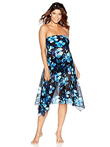 M&Co Ladies Swimwear Floral Rose Print Sheer Mesh 2 In 1 Multiway Swim Skirt Strapless Beach Dress Blue S/M