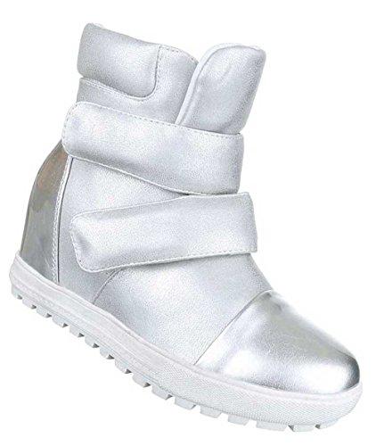 Damen Stiefeletten Schuhe Keil Wedges Boots Schwarz Silber