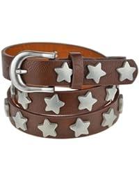 Bags4Less schmaler Vintage Stern Gürtel Model: 45598 ( Schokobraun 90cm )