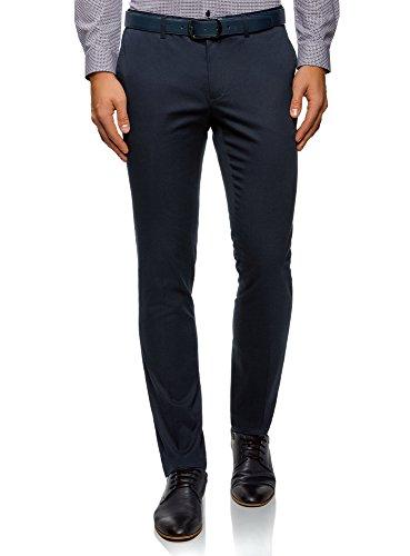 oodji Ultra Hombre Pantalones de Algodón con Solapas en los Bolsillos Traseros, Azul, ES 40 (M)