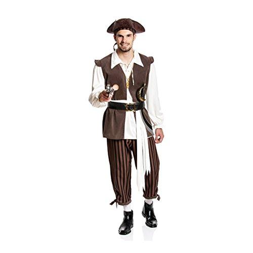 Kostümplanet® Piraten-Kostüm Herren mit Piraten-Kopftuch Kostüm Pirat Faschings-Kostüm Größe 60/62