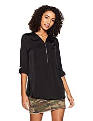 Forever 21 Womens Regular Fit Shirt (231977_Black_Large)
