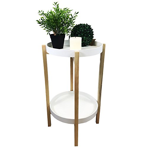 Table d'appoint Table basse bois 4 branches en métal ronde en blanc naturel sur 2 niveaux Ø39 cm + H65 cm