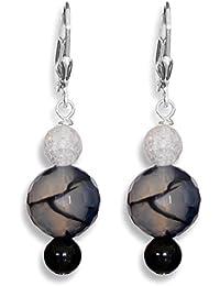 ERCE ónix/ onyx - ágata - cristal de roca piedras preciosas pendientes redondos tallados, plata de ley 925, longitud 4,3 cm, en estuche de regalo