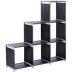 SONGMICS Étagère escalier de 6 Cases, Bibliothèque, Meuble de Rangement, en Tissu Non-tissé, Dimensions:106 x 32 x 110 cm, Noir LSN63H