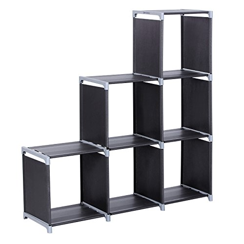 SONGMICS Organizador Multifuncional Estantería Librería de 3 Niveles 6 Cubos almacenaje 105 x 29 x 105 cm Negro LSN63H