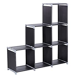 41Bq1tt363L. SS300  - SONGMICS 6-Cube Bookcase, DIY Cube Storage Rack, Staircase Organiser in Living Room, Bedroom, Children's Room, Study, for Toys and Daily Necessities, Room Divider, Black LSN63H