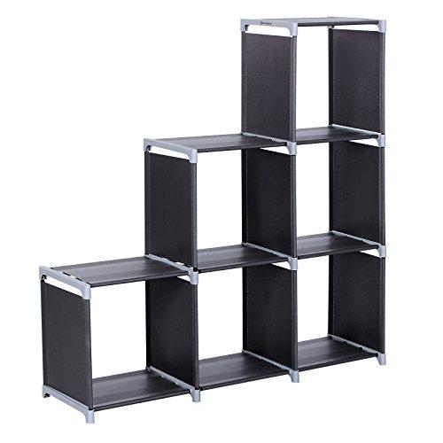 SONGMICS Organizador Multifuncional Estantería Librería de 3 Niveles 6 Cubos almacenaje 110 x 32 x 106 cm Negro LSN63H