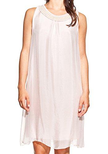 Laura Moretti - Seidenkleid mit U-Boot-Ausschnitt und Perlen Rosa