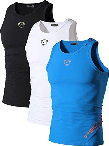 Jeansian Men's 3 Packs Sport Quick Dry Compression Tank Tops Vests Shirt LSL3306