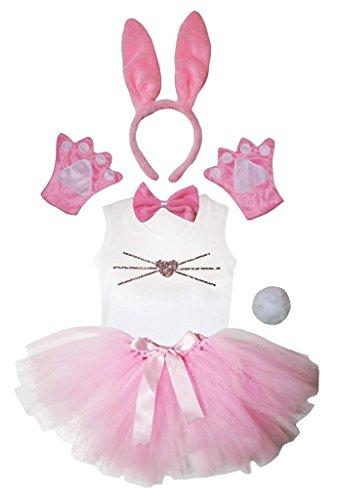 Petitebelle Stirnband Bowtie Schwanz Handschuhe Hemd Rock 6pc Mädchen-Kostüm 5-6 Yr Pink Bunny Nose