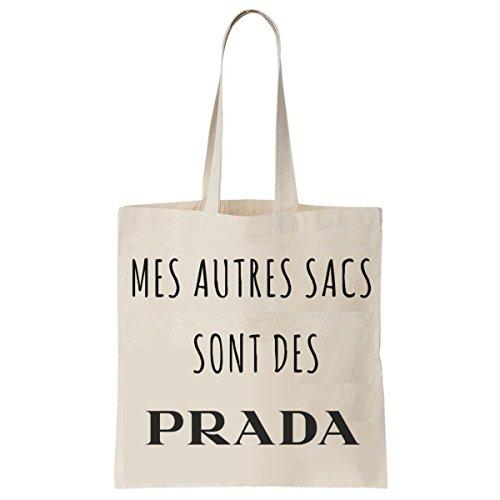 Tote Bag Imprimé Ecru - Toile en coton bio - Mes autres sacs sont des Prada