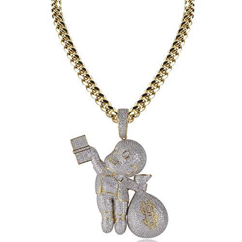 Qiulv Dollar Hiphop Anhänger 18K Gold Überzogen Karikatur Charakter Groß Uns Zeichen Halskette Scheinen Lustig Halskette Blau Zirkon Inlay Kette Schmuck