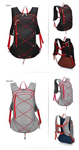 Weat Biking 15L Unisex Wasserdicht Fahrrad Radfahren Rucksack für Wandern Camping Reise Rucksack Daypack Tasche schwarz - Schwarz / Rot
