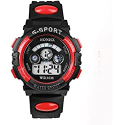 Tonsee Mens Boys Digital LED Quartz Alarm Date Sports Wrist Watch Red