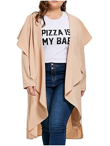CuteRose Women Drape Hem Lightweight Plus-Size Cardigan Overcoat Trench Apricot L