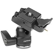 Mantona Rotule pour trépied Scout (incl. blocage de sécurité, plateau de fixation rapide avec raccord 1/4 pouce et 3/8 pouce)