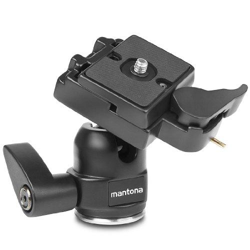 Mantona Kugelkopf für Stativ Scout (max. Belastbarkeit ca. 5 kg, inkl. Sicherheitssperre und Schnellwechselplatte)