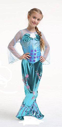 Meerjungfrau Kostüm Mädchen - Kinderkostüm Nixe - Mermaid - Blau - Gr. 140 - 8-10 Jahre (Herstellergröße: L) (Mädchen Meerjungfrau Kleid Kostüm)