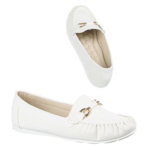 Damen Schuhe, 1008-BL, MOKASSINS Weiß