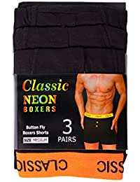 IMTD Mens 3 Pairs Vibrant Coloured Elasticated Waistband Boxer Shorts Mens Black Underwear Trunks Boxers