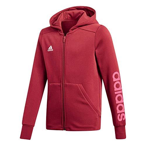 adidas Mädchen Linear Full Zip Hooded Kapuzen-Jacke, Noble Maroon/Real Magenta/White, 140 Preisvergleich