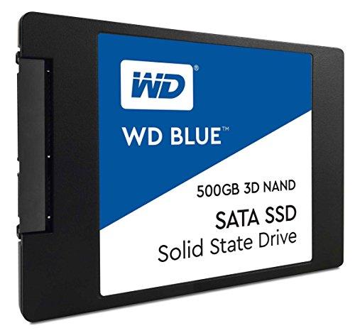 WD Blue 3D NAND 500GB interne SATA III SSD Festplatte 2,5 Zoll (7mm). Verbesserte Energieeffizienz. Für Multitasking und ressourcenintensive Anwendungen WDS500G2B0A