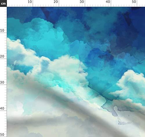 Wasserfarben, Pastell, Wolken, Licht, Ostern, Himmel, Blau Stoffe - Individuell Bedruckt von Spoonflower - Design von Furbuddy Gedruckt auf Faille