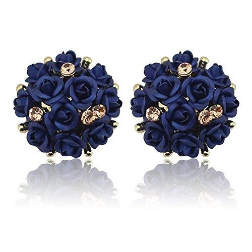 Shining Diva Fashion Stylish Stud Earrings for Women and Girls(Navy Blue)(9181er)