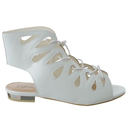 femmes lacet plat talon bas GLADIATEUR sandales été Découpe Chaussures Pointure BLANC FAUX CUIR