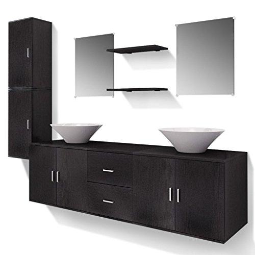 Vidaxl set 9pz mobili da bagno armadietti ripiani specchio lavabo lavandino nero