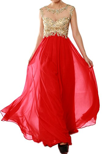 MACloth Women Cap Sleeve Gold Lace Chiffon Long Prom Dress Evening Formal Gown red