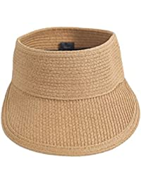 butterme Mujer Mujeres Chica plegable sombrero Topless Visera Sombrero Wide  Brim sombrero de paja sombrero de verano sombrero Jardín… a75d7be8823