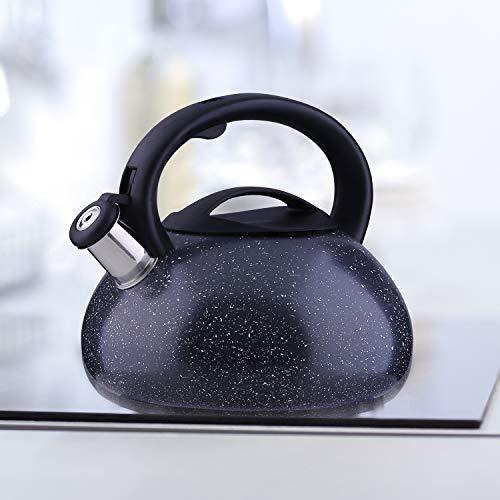 DecoKing 51580 Hervidor con Silbato 3L Acero Fino Mango Tapadera Cocina de Gas Cocina Eléctrica Placa de Inducción Negro Black Marble
